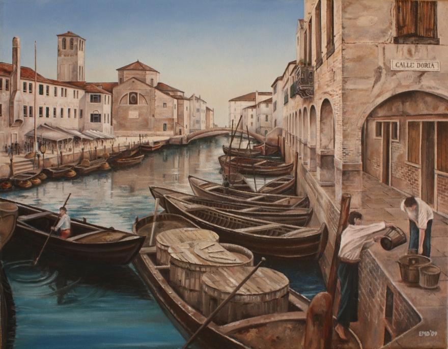 Venice - Canale con Mercato di Pesce